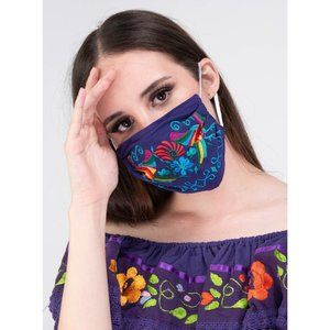 Mexican Embroidered Otomi Birds Face Mask Purple